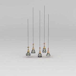 时尚简约餐厅吊灯3d模型