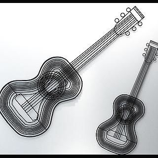 吉他乐器铁艺墙饰3d模型