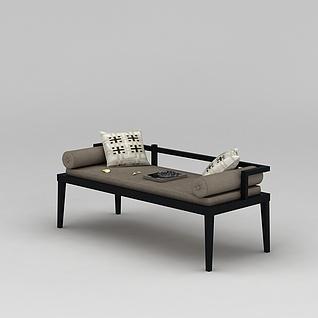 中式客厅坐榻3d模型3d模型