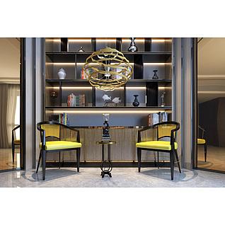 现代创意吊灯椅子茶几组合3d模型