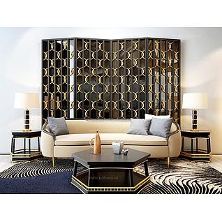 现代精品沙发茶几屏风组合3d模型
