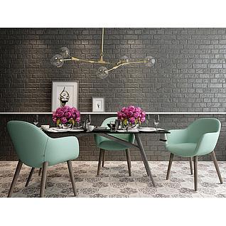 现代奢华餐桌餐椅吊灯组合3d模型3d模型
