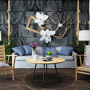 田園風椅子茶幾石磚背景墻組合模型3d模型