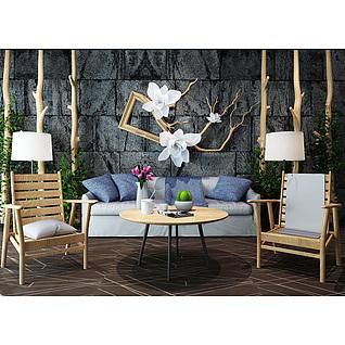 田园风椅子茶几石砖背景墙组合3d模型3d模型