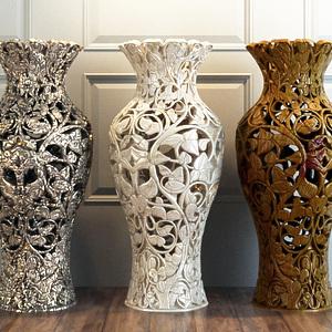 雕花镂空大花瓶模型