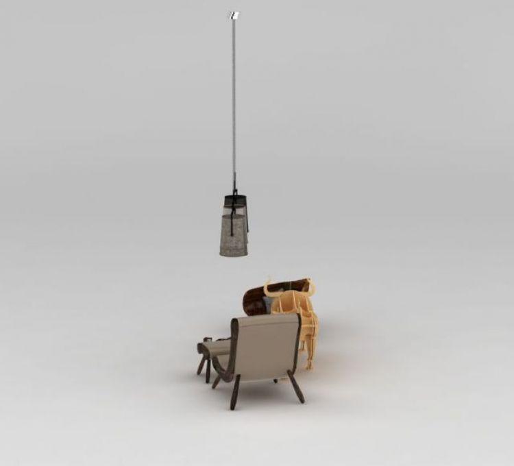创意躺椅吊灯纸皮动物玩具组合