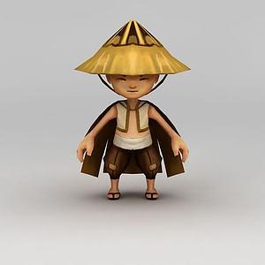 3d卡通角色牧童模型