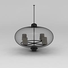 现代圆形灯笼吊灯模型3d模型
