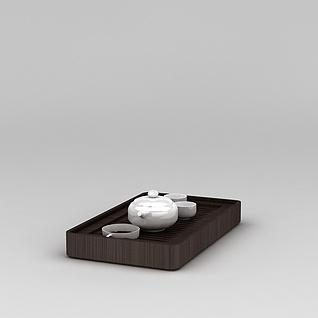 功夫茶盘和茶具3d模型