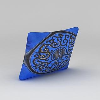蓝色刺绣抱枕3d模型