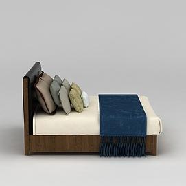 简约实木床3d模型