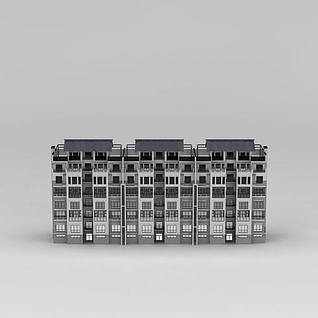 中式小区住宅楼3d模型