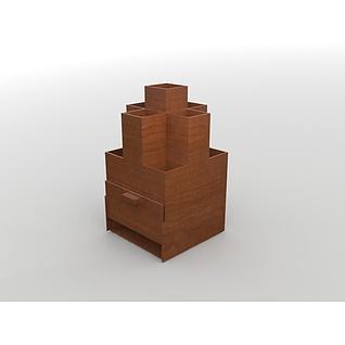 木质笔筒3d模型