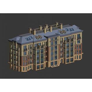 五层洋房3d模型
