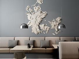 休闲餐厅超现代纸质墙饰3d模型