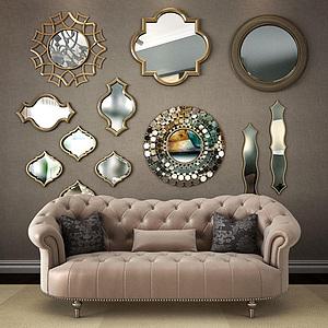 3d<font class='myIsRed'>美式沙发</font>镜子墙饰组合模型
