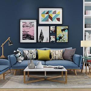 3d现代北欧沙发椅子茶几组合模型
