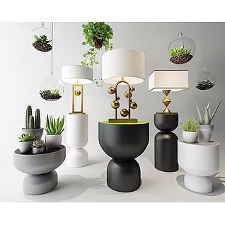 现代植物盆栽花艺组合3d模型