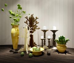 现代花瓶烛台陈设品组合模型3d模型