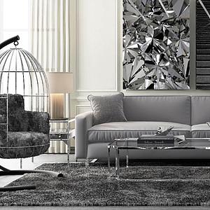3d时尚<font class='myIsRed'>美式沙发</font>茶几休闲吊椅模型