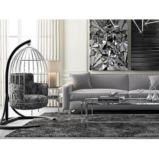 时尚美式沙发茶几休闲吊椅3d模型3d模型