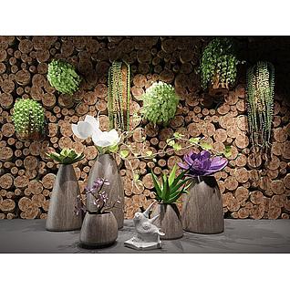 现代木头装饰墙绿植盆栽组合3d模型