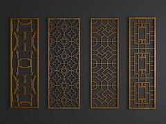 现代中式雕花隔断模型3d模型