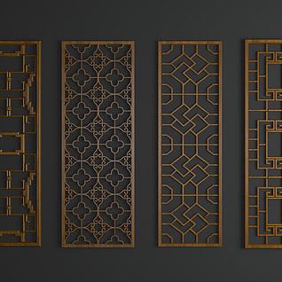 现代中式雕花隔断3d模型
