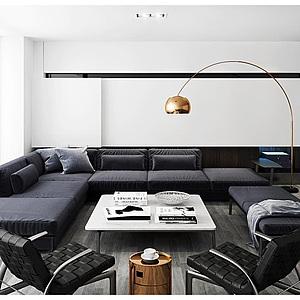 3d客厅多人<font class='myIsRed'>转角沙发</font>茶几组合模型