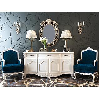欧式玄关柜沙发椅组合3d模型3d模型