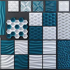 现代时尚软包墙饰组合模型