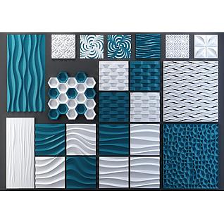现代时尚软包墙饰组合3d模型