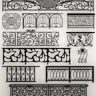 欧式铁艺栏杆组合3d模型