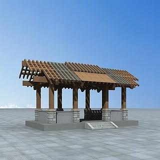 现代木亭子3d模型