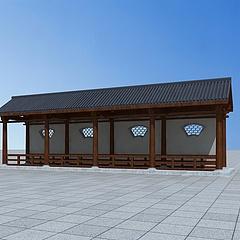 中式古典廊架3D模型3d模型