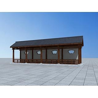 中式古典廊架3d模型