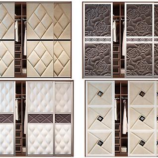 欧式衣柜软包移门组合3d模型