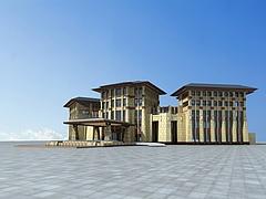 藏式酒店模型3d模型