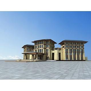 藏式酒店3d模型
