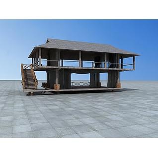 二层木屋房子3d模型