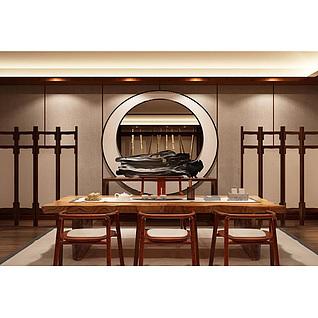 新中式茶室桌椅陈设品组合3d模型3d模型