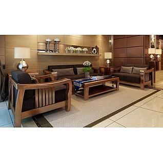 东南亚实木沙发茶几组合3d模型3d模型