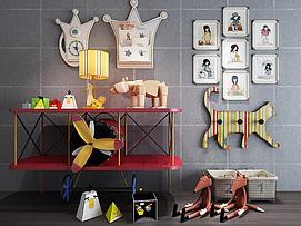儿童房创意飞机边柜玩具组合模型