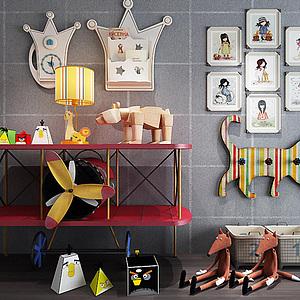 3d兒童房創意飛機邊柜玩具組合模型