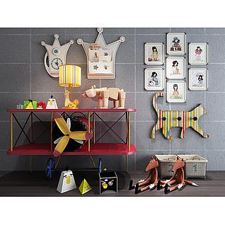 儿童房创意飞机边柜玩具组合3d模型