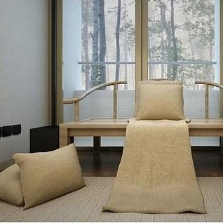 新中式原木沙发茶几3d模型图片