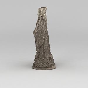 3d人物石雕塑模型