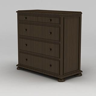 实木多抽屉餐边柜3d模型3d模型