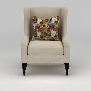 米色布艺单人沙发3d模型3d模型