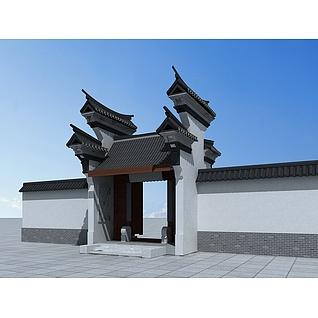 中式江南风门头3d模型